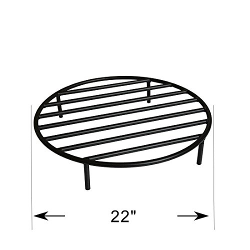 Onlyfire Heavy Duty Round Steel Outdoor Fire Pit Wood Grate With 4 Legs For Campfire Grill Cooking 22-inch