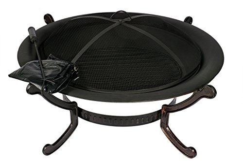HIO 39-Inch Outdoor Fire Pit with Spark Screen Steel Wood Grate Protective Cover and Safety Poker
