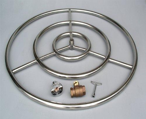 Fire Pit Ring High Capacity Triple Ring 30 Diameter Stainless Steel Burner Ring wth 34 valve