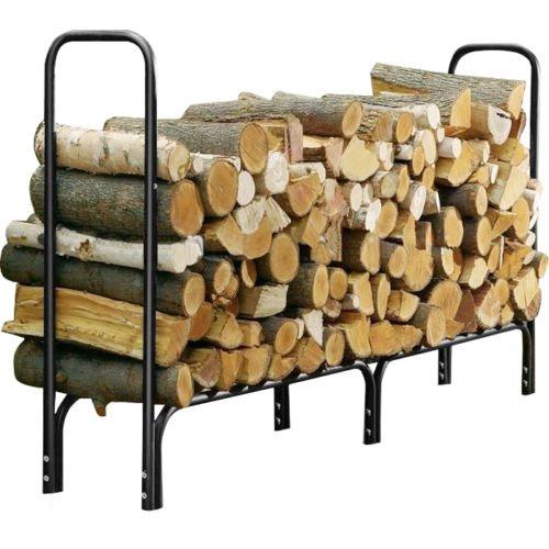 Ainfox 4feet 8feet Outdoor Heavy Duty Steel Firewood Log Rack Wood Storage Holder Only Black 8feet