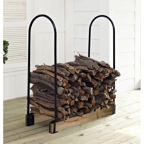 Crosley Hartman Adjustable Firewood Storage Rack Black