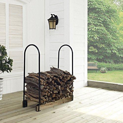 Crosley Hartman Adjustable Firewood Storage Rack Black by Crosley