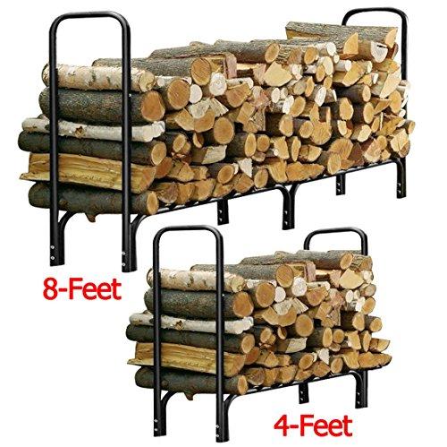 Gracelove US STOCK 4ft Outdoor Heavy Duty Steel Firewood Log Black Rack Wood Storage Holder