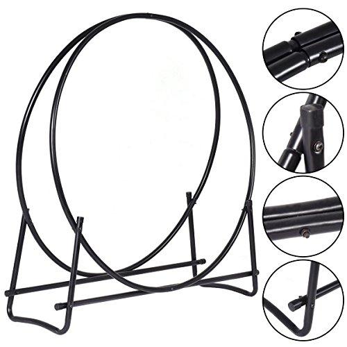 MasterPanel - 40-Inch Tubular Steel Log Hoop Firewood Storage Rack Holder Round Display TP3284