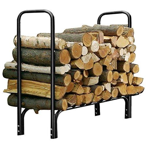 Yaheetech Outdoor Log Rack Steel Firewood Storage Holder Black 4-feet
