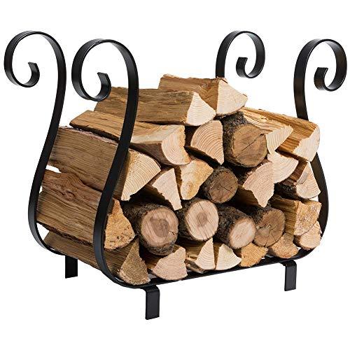 DOEWORKS Fireplace Log Holder Wrought Iron Indoor Firewood Rack Logs Bin Carrier for Outdoor Fireplace Pit Decorative Wood Holders Black Renewed