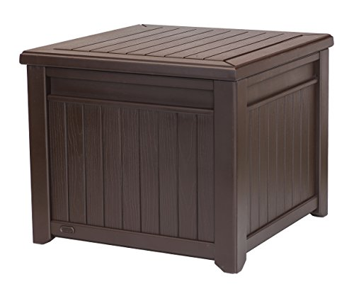 Keter Outdoor Patio Garden Cube Wood Look Storage Box Bench Container Organizer 55 Gal