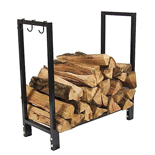 Sunnydaze 30 Inch IndoorOutdoor Black Steel Firewood Log Holder