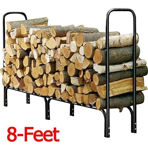 Topeakmart 8 Firewood Log Rack Large Wood Storage Holder Heavy Duty Metal Rack
