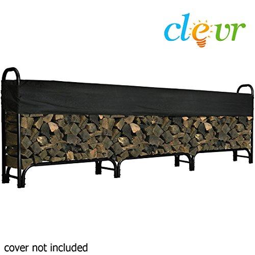 12ft Feet Outdoor Heavy Duty Steel Firewood Log Rack Wood Storage Holder Black