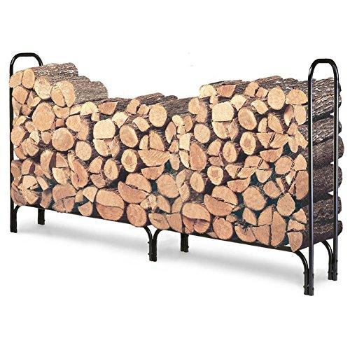 8ft Feet Outdoor Heavy Duty Steel Firewood Log Rack Wood Storage Holder Black
