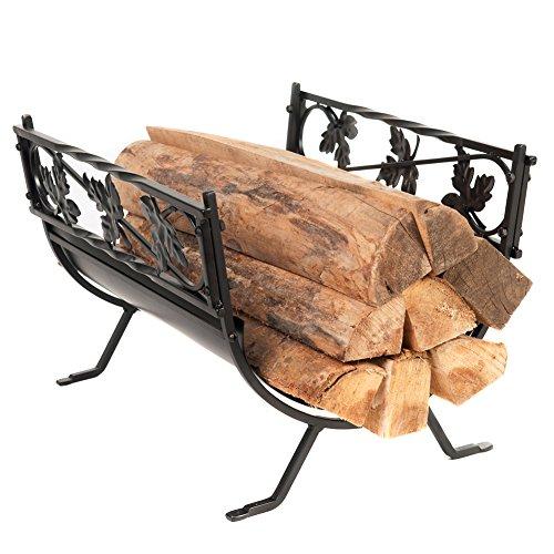 Hio Small Leaves Decorative Firewood Racks 185 Inch Wrought Iron Indooroutdoor Fireside Log Rack