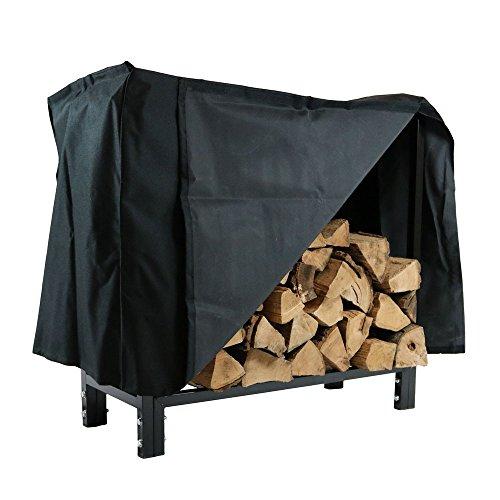 Sunnydaze 30 Inch Indooroutdoor Black Steel Firewood Log Rack And Cover Combo