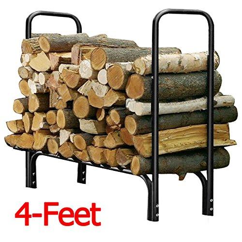 Yaheetech Heavy Duty Outdoor Log Rack Steel Firewood Storage Holder Black 4-feet
