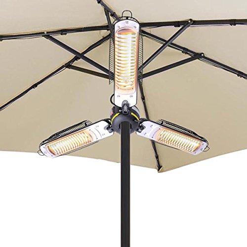 3 Halogen Outdoor Electric Patio Heater Umbrella Parasol