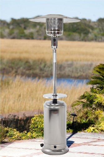 Golden Flame 46000 Btu xl-series stainless Steel Patio Heater Wdrink Tableamp Wheels propane