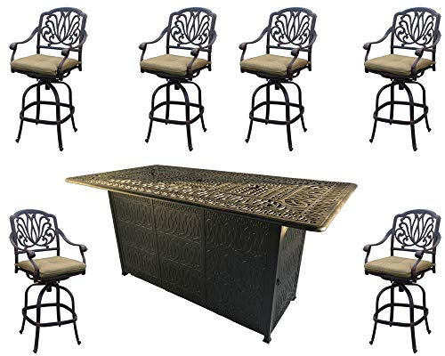 Sunvuepatio Fire pit dining table set outdoor propane heater Elisabeth bar stools cast aluminum furniture