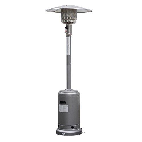 Garden Outdoor Patio Heater Propane Standing LP Gas Steel waccessories Silver Gray