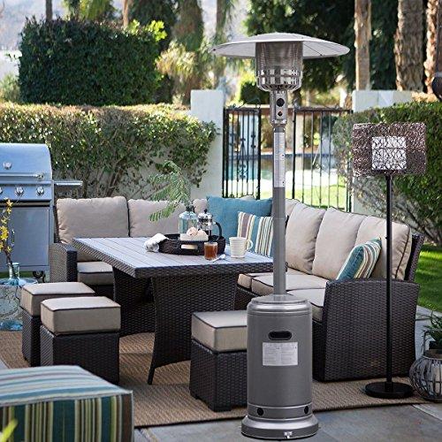 LOMIC Garden Outdoor Patio Heater Propane Standing LP Gas Steel waccessories SILVERY GRAY