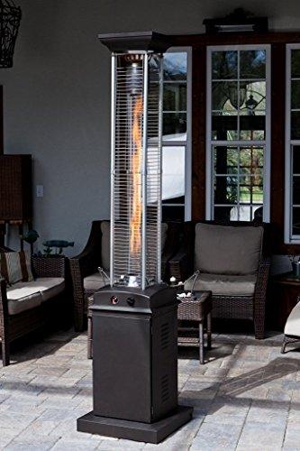 Golden Flame Square Flame Commercial 46000 BTU Rich Mocha Quartz Glass Tube Propane Patio Heater wWheels