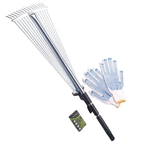 Green Burgeon 28&quot-57&quot Length Telescopic Steel Garden Rake 15 Tine Adjustable Garden Leaf Rake With 1pair Work