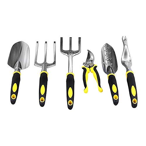 Songmics Garden Tool Set 6-piece Garden Kit With Heavy Duty Cast-aluminum Headsamp Ergonomic Handles Uggt600