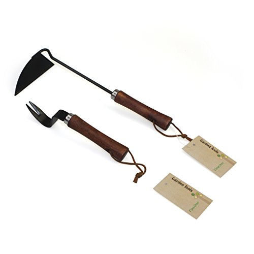 Finether 2 Pieces Garden Hand Tool Set Onion Hoe and Hand Weeder Ergonomic Designed