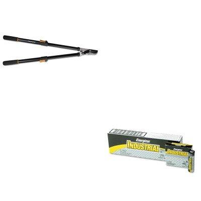 KITEVEEN91FSK91686935J - Value Kit - Fiskars Telescoping Power-Lever Bypass Lopper FSK91686935J and Energizer Industrial Alkaline Batteries EVEEN91