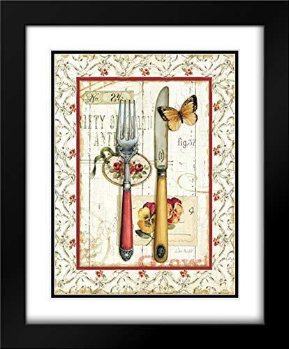 Audit Lisa 28x33 Black Modern Frame and Double Matted Museum Art Print Titled Rose Garden Utensils I Red