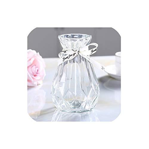 Beautiful Vase of Glass vase Calla Peony Flower Artificial Flower Rose Bottle Rhombus Container Garden Utensils color2