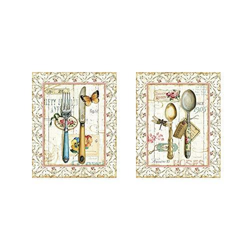 Rose Garden Utensils by Lisa Audit 2 Piece Art Print Set 8 X 10 Inches Each Floral Flatware Art