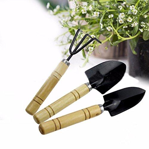 LONG7INES 3-Pack Small Garden Tool Set - Garden Triangle shovelSquare shovelRake for Women Shovel Rake Spade Wood Stick