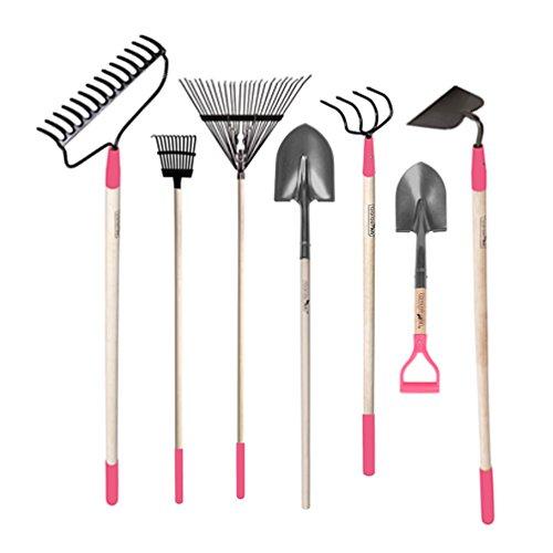 GardenAll 7-Piece Landscape Garden Tool Set with Bow Rake Digging Shovel Hoe Cultivator Spring Rake Bush Rake with Pink Protection Cap for Women
