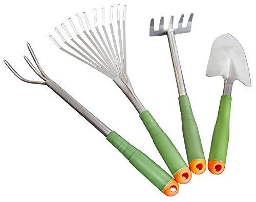 4 Piece Garden Hand Tool Set Extra Long Lightweight - EZ on Your Back Ergonomic Design Storage Box Model GnP-001