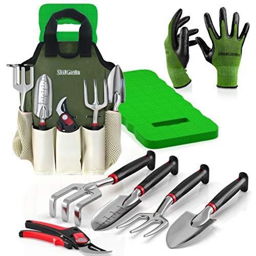 8-Piece Gardening Tool Set-Includes EZ-Cut Pruners Lightweight Aluminum Hand Tools with Soft Rubber Handles- Trowel Bamboo Gloves Garden Tote High Density Comfort Knee Pad Gardening Gifts Tool Set