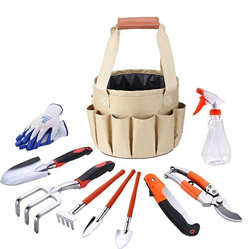 HTWY Garden Tools Set 10 PCS Gardening Work Kit with Garden Bags and Gardening Gloves Sprayer Gardening Tool Gifts Set for Women Men