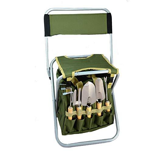 LTLCBB Garden Tools Set Collapsible Metal Antirust Garden Greening Prune Seat Canvas Bag Tool KitGardening Tool Gift Outfit