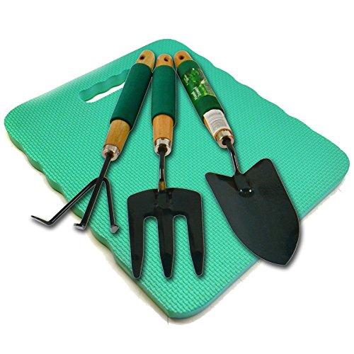 Garden Gardening Hand Rake Spade Shovel Fork And Foam Kneeling Pad 4pc Set