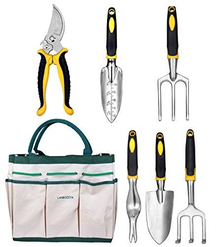 LANBOZITA Garden Tools 7-Piece Gardening Tools Set Including Trowel Transplanter Cultivator Pruner Weeder Weeding Fork and Canavas Tote 2