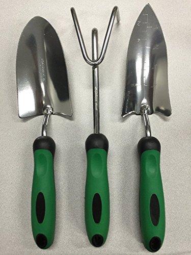 Think Tank Technology 3 Piece Stainless Steel Garden Tool Set Emerald Green Black