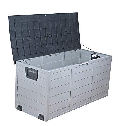 Crystalzhong-FP Garden Cabinet Outdoor Garden Tool Cabinet Lockable Storage Deck Box Sun and Waterproof for Balcony Garden Patio 300L for Outdoor Storage Color  Gray Size  112x48x54cm