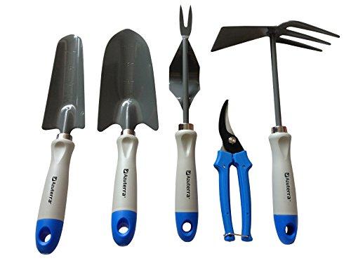 Gardening Tools -5 Piece Garden Tool Set troweltransplanterweederpruning Shearsampdouble Hoe From Azuterra