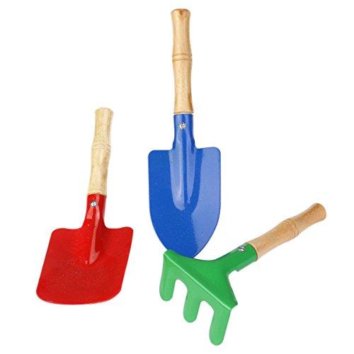 WINOMO 3pcs Mini Rake Shovel Trowel Set Garden Tools Kids Beach Sandbox Toy