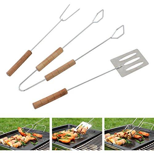DimsumShop 3Pcs BBQ Tools Shovel Fork Clip Barbecue Grill