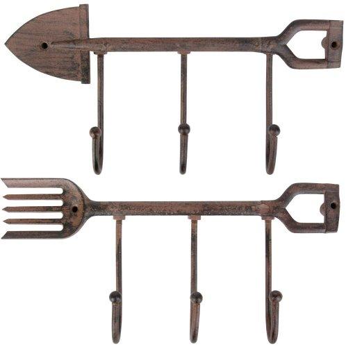 Esschert Design Shovel and Fork 3-Hook Hanger Set of 2