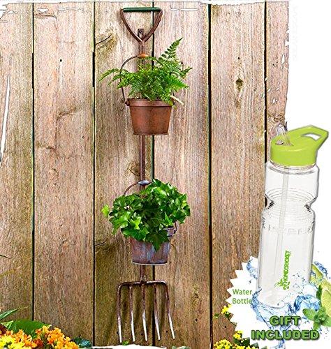 Gift Included- Flowers Herbal Garden Rustic Tool Pots Planters Shovel or Pitchfork Display  FREE Bonus Water Bottle byHomecricket Pitchfork