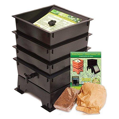 Black Plastic 3-tray Worm Composting Bin Composter W Compost Tea Spigot