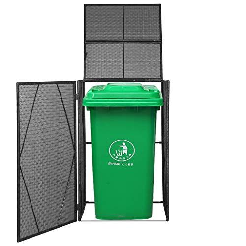 AYNEFY Black Wheelie Bin Shed Garden Bin Store with Steel Outdoor Waste Shed for Gardens Roads Courtyard Parks