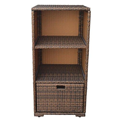 DBM IMPORTS Espresso Wicker Storage Box Cube Basket Patio Garden Bin Towel Holder Shelf Organizer Cabinet Deck Pool Storage