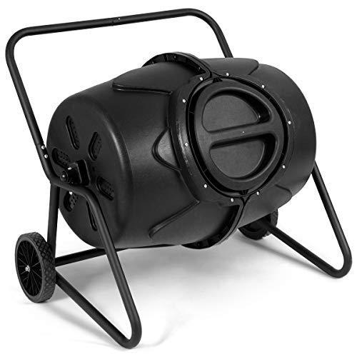 Goplus Compost Tumbler Outdoor Garden Waste Bin Grass Food Trash Fertilizer Barrel Black 45-Gallon with Wheels